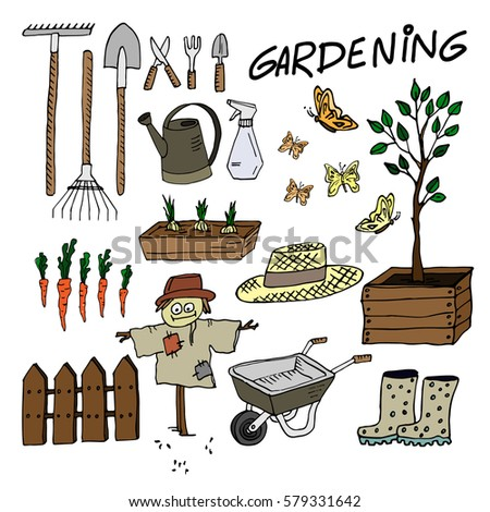 Gardening Equipment Set. Cute Sketched Garden Tools. Vector Illustration.