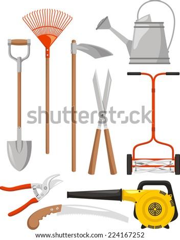 Gardening Equipment Vector illustration cartoon. - stock vector