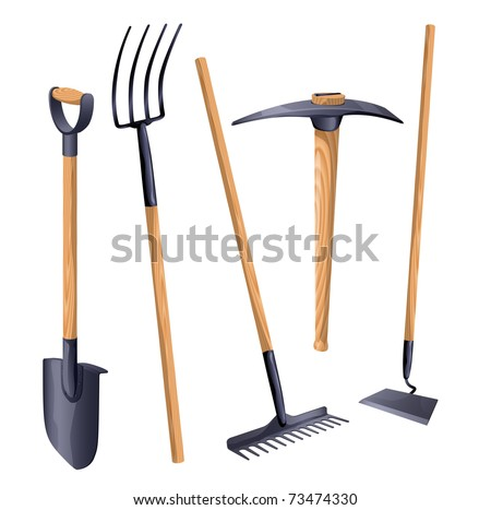 Farm tools stock images royalty free images vectors for Gardening tools vector