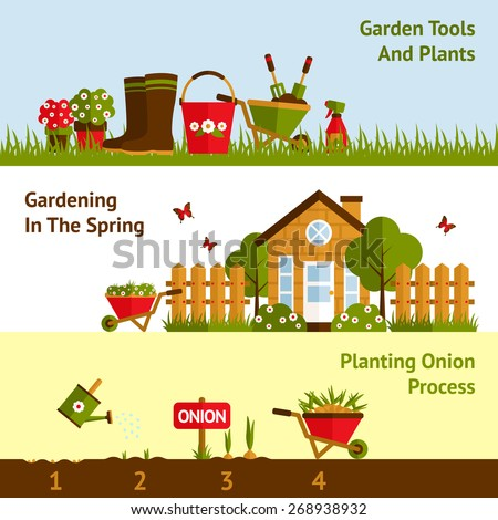 Gardening horizontal banners set with planting process plants and tools isolated vector illustration - stock vector