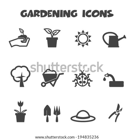 gardening icons, mono vector symbols - stock vector
