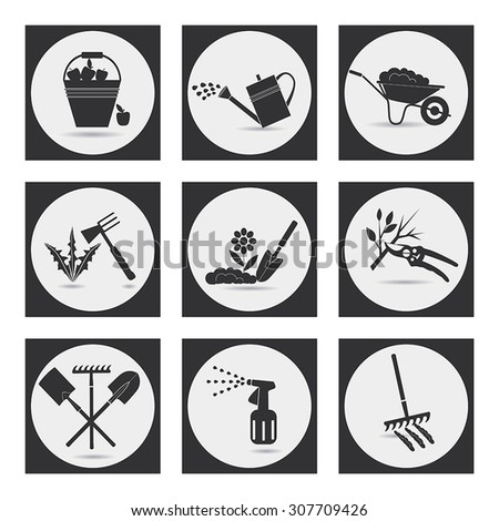 Gardening. Icons on the theme of organic farming. Symbols stages of cultivation of plants. Loosening the soil, fertilization, planting seedlings, watering, treatment of pests, weed control,harvesting. - stock vector