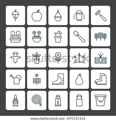 Gardening Icons Set Collection Bloom Wheat Stock Photo Photo