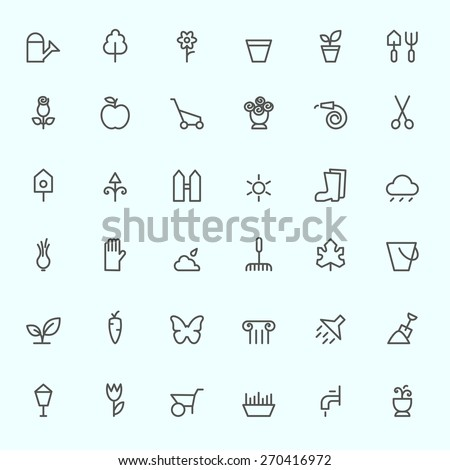 Gardening icons, simple and thin line design - stock vector
