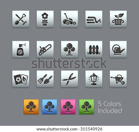 Gardening Icons- The vector file includes 5 color versions for each icon in different layers ---- - stock vector