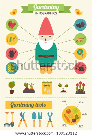 Gardening infographics, vegetable garden, garden tools. Flat design vector icons set. - stock vector