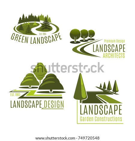 Gardening or green landscape design company icons set. Vector isolated green  tree park, nature - Gardening Green Landscape Design Company Icons Stock Vector