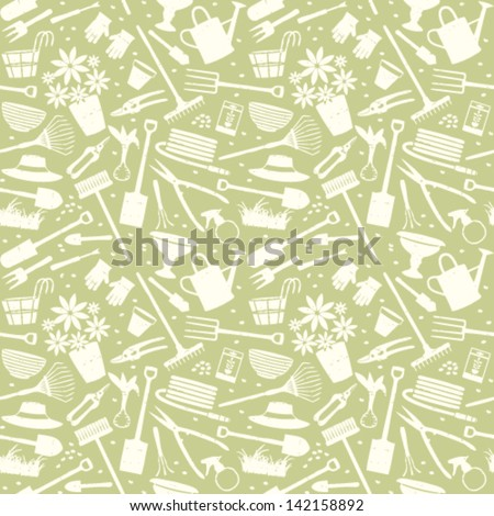 Gardening related seamless pattern 5 - stock vector