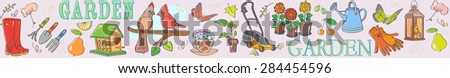 Gardening set illustration banner horizontal - stock vector