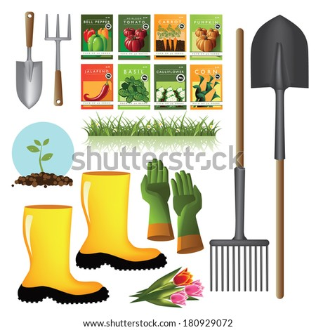 Gardening supplies collection EPS 10 vector, grouped for easy editing. No open shapes or paths. - stock vector