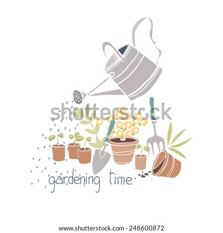 gardening time card with watering can and flowerpots  - stock vector