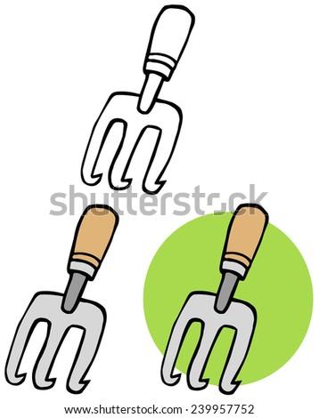 Gardening Tool-Gardening Hand Cultivater. Vector Collection Set - stock vector