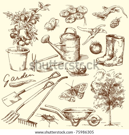 Garden tools stock photos images pictures shutterstock for Gardening tools drawing