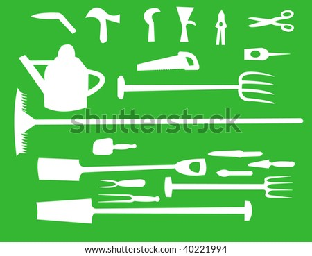 Gardening tools and equipment - stock vector