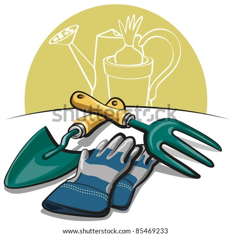 gardening tools and gloves - stock vector
