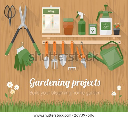 Gardening tools and products on a shelf and hanging on a wooden wall with copyspace at bottom - stock vector