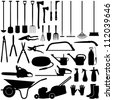 Gardening tools collection - vector silhouette - stock photo
