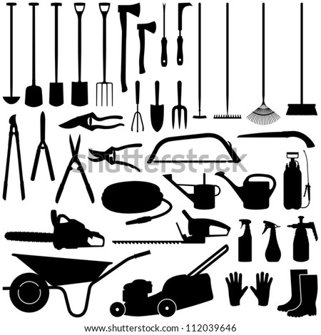 Gardening tools collection - vector silhouette - stock vector