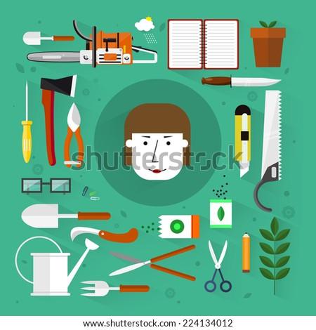 Gardening tools.Flat design.Icons set. - stock vector
