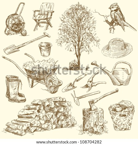 gardening tools - hand drawn collection - stock vector