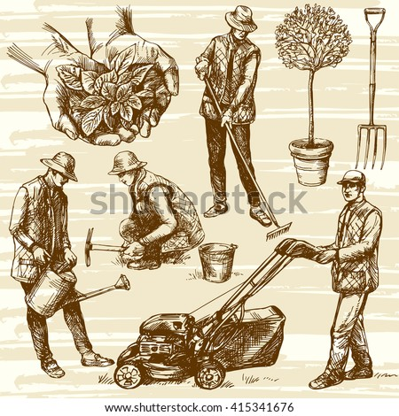 Gardening tools. Hand drawn vector illustration. Watering flowers. Farmer planting seedlings. Man cutting grass with lawn mower. - stock vector