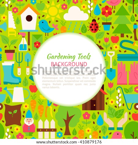 Gardening Tools Pattern Background. Flat Style Vector Illustration for Spring Promotion Template. Nature Gardening.