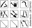 Gardening tools silhouettes (also available in raster format) - stock