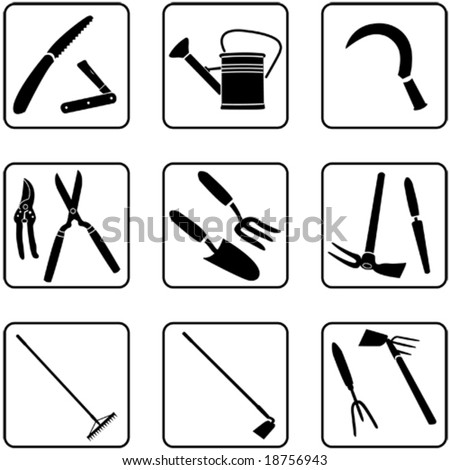 Gardening tools silhouettes (also available in raster format) - stock vector