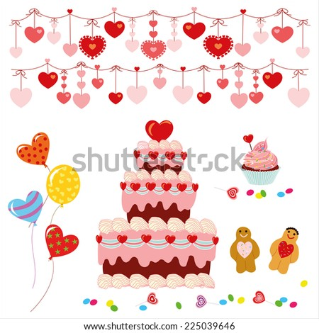 Garland Of Hearts With Cake, Sweets And Balloons - stock vector