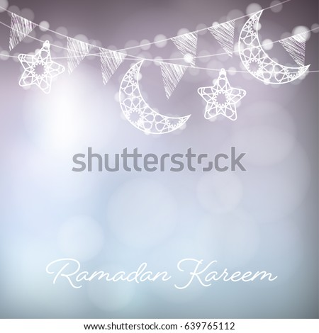 Garlands decorative moons stars lights party stock vector 639765112 garlands with decorative moons stars lights and party flags vector illustration card stopboris Choice Image