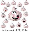 garlic cartoon head with many expressions - stock photo