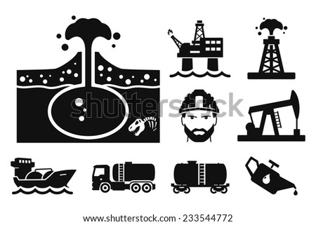 Gas and Oil icons set // 04 - stock vector