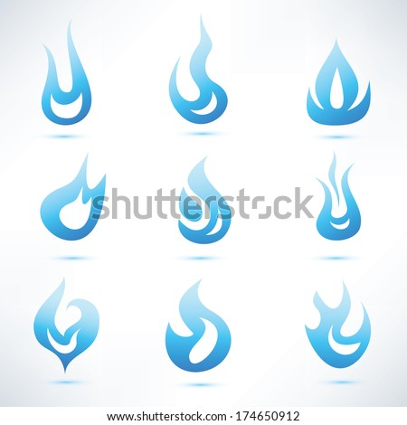 gas blue flame, set of vector abstract shapes