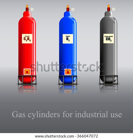 Gas cylinders for industrial use / Three gas cylinder with propane, oxygen and carbon dioxide - stock vector