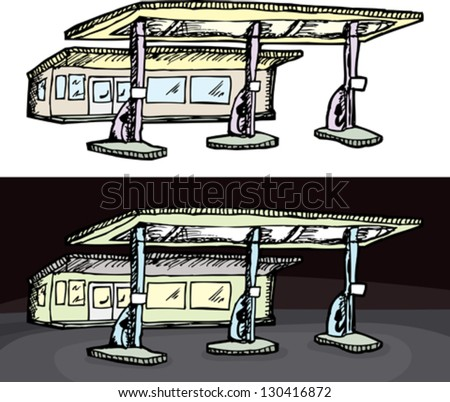 Gas filling station in isolated and night versions - stock vector