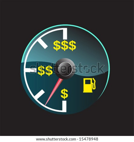 Gas gauge of a car with dollar symbols - stock vector