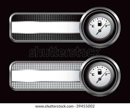 gas gauge on striped banners - stock vector