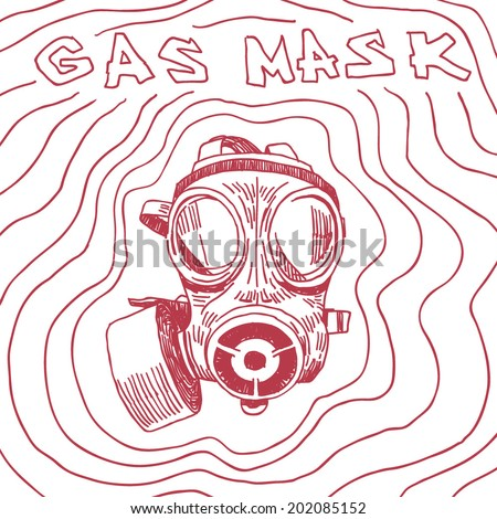 Gas mask drawing with sign and waves on white background - stock vector