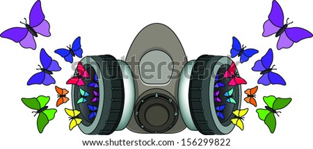 Gas mask expelling butterflies - stock vector