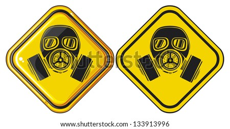 gas mask hazardous sign (gas mask warning sign, army gas mask, mask-protection in the face of the filter, protective gas mask, gas mask danger sign) - stock vector