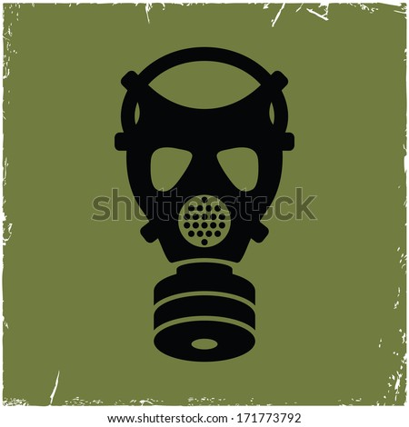 Gas mask on old background with effect of scratches. - stock vector