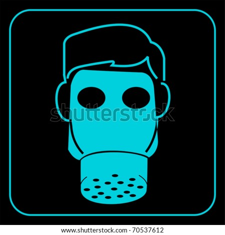 gas mask-safety equipment  symbol, vector - stock vector