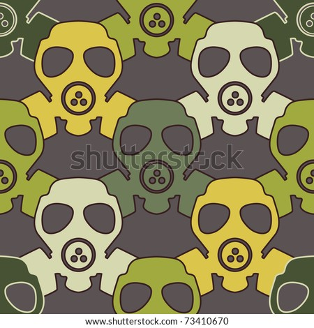 Gas mask  - seamless pattern - stock vector
