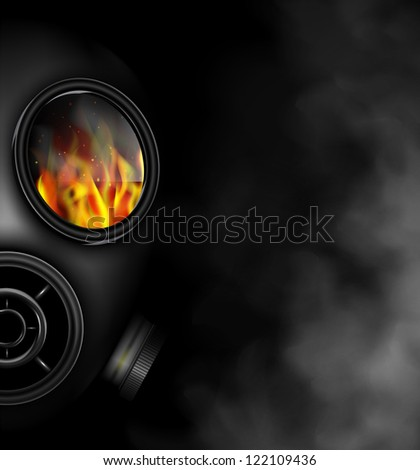 Gas mask the smoke from fire. Eps 10 - stock vector