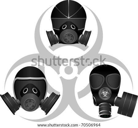 gas masks and biohazard sign. vector illustration - stock vector