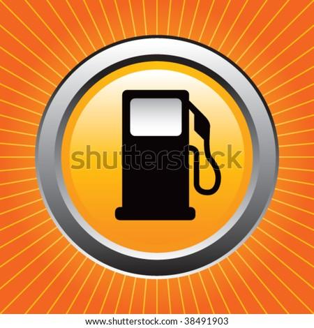 gas or fuel icon on orange starburst - stock vector
