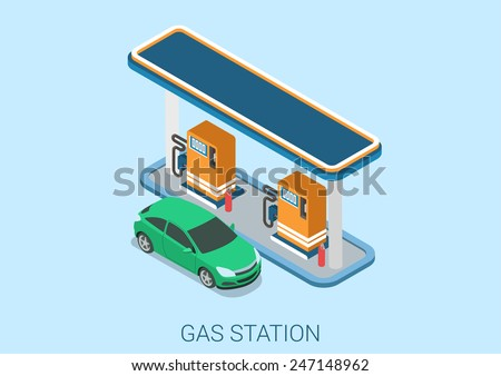Gas petroleum petrol refill station flat 3d web isometric infographic concept vector. Petroleum collection. - stock vector