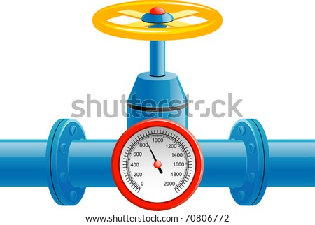 Gas pipe valve and pressure meter - stock vector