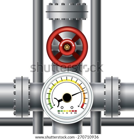 Gas pipe valve, pressure meter. Transit and industrial manometer, control and measurement. Vector illustration - stock vector