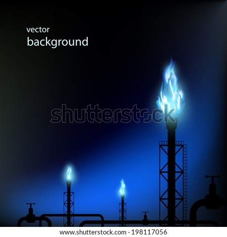gas pipes with a blue flame - stock vector